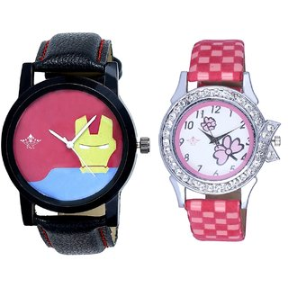Yellow Iron Men Dial And Pink Flowers Design Couple Casual Analogue Wrist Watch By Google Hub