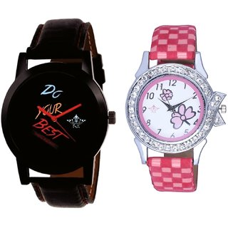Do Your Best Multi Colour And Pink Flowers Design Couple Casual Analogue Wrist Watch By Google Hub