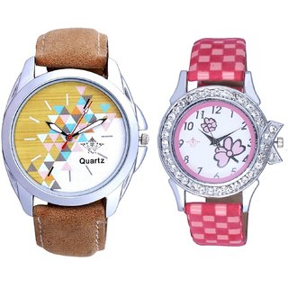 Attractive Design Brown Belt And Pink Flowers Design Couple Casual Analogue Wrist Watch By Google Hub