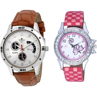 Designer Brown Leather And Pink Flowers Design Couple Casual Analogue Wrist Watch By Google Hub