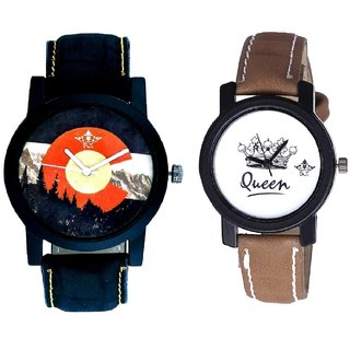 Winter Mount Themes And Queen Taj Design Dial Couple Casual Analogue Wrist Watch By Google Hub