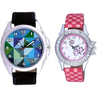 Royal Sky Colour Art And Pink Flowers Design Couple Casual Analogue Wrist Watch By Google Hub