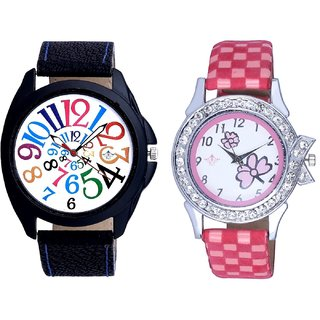 Addition Multi Colour Digits And Pink Flowers Design Couple Casual Analogue Wrist Watch By Google Hub