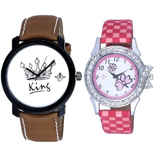 King Dial And Pink Flowers Design Couple Casual Analogue Wrist Watch By Google Hub