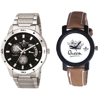 Luxury Black Dial Metal Belt And Queen Taj Design Dial Couple Casual Analogue Wrist Watch By Google Hub