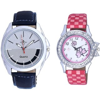 Royal Silver-Black Dial And Pink Flowers Design Couple Casual Analogue Wrist Watch By Google Hub