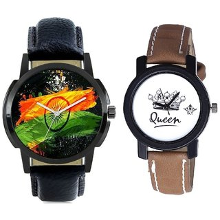 Indian Flage And Queen Taj Design Dial Couple Casual Analogue Wrist Watch By Google Hub