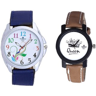 Colouring Flowers And Queen Taj Design Dial Couple Casual Analogue Wrist Watch By Google Hub