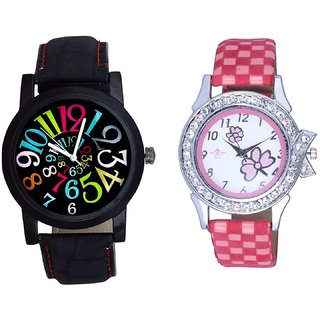 Spanish Special Colour Digit And Pink Flowers Design Couple Casual Analogue Wrist Watch By Google Hub