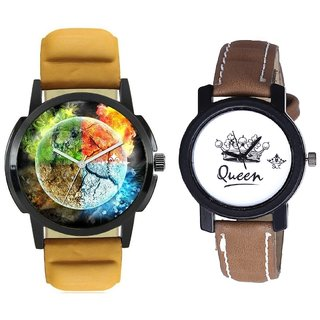 Stylish 3D Designer And Queen Taj Design Dial Couple Casual Analogue Wrist Watch By Google Hub