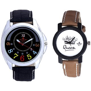 Classical Black Round Dial And Queen Taj Design Dial Couple Casual Analogue Wrist Watch By Google Hub