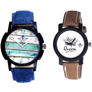 Spanish Special Colour And Queen Taj Design Dial Couple Casual Analogue Wrist Watch By Google Hub