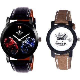 2 Jaguar And Queen Taj Design Dial Couple Casual Analogue Wrist Watch By Google Hub