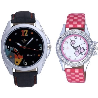 Goal Achived Art And Pink Flowers Design Couple Casual Analogue Wrist Watch By Google Hub