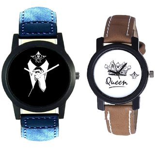 Professional Men And Queen Taj Design Dial Couple Casual Analogue Wrist Watch By Google Hub