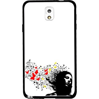 Snooky Printed Butterfly Girl Mobile Back Cover For Samsung Galaxy Note 3 - Multicolour