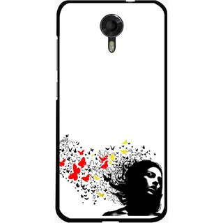 Snooky Printed Butterfly Girl Mobile Back Cover For Micromax Canvas Xpress 2 E313 - Multicolour