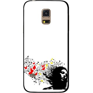 Snooky Printed Butterfly Girl Mobile Back Cover For Samsung Galaxy S5 Mini - Multicolour
