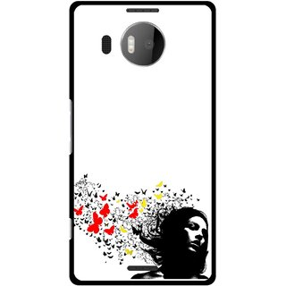 Snooky Printed Butterfly Girl Mobile Back Cover For Microsoft Lumia 950 XL - Multicolour