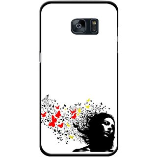 Snooky Printed Butterfly Girl Mobile Back Cover For Samsung Galaxy S7 - Multicolour