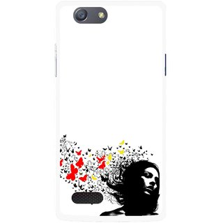 Snooky Printed Butterfly Girl Mobile Back Cover For Oppo Neo 7 - Multicolour