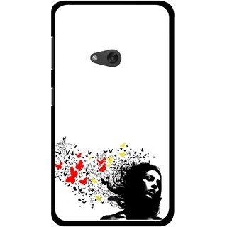 Snooky Printed Butterfly Girl Mobile Back Cover For Nokia Lumia 625 - Multicolour