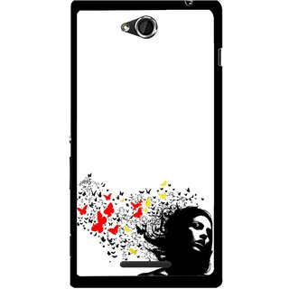 Snooky Printed Butterfly Girl Mobile Back Cover For Sony Xperia C - Multicolour
