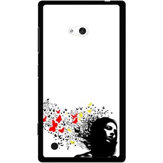 Snooky Printed Butterfly Girl Mobile Back Cover For Nokia Lumia 720 - Multicolour