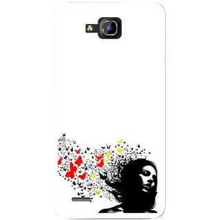 Snooky Printed Butterfly Girl Mobile Back Cover For Huawei Honor 3C - Multicolour