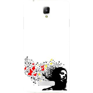 Snooky Printed Butterfly Girl Mobile Back Cover For Oppo Neo 3 R831k - Multicolour