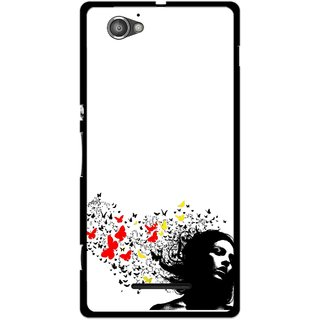 Snooky Printed Butterfly Girl Mobile Back Cover For Sony Xperia M - Multicolour