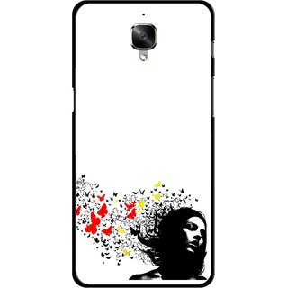 Snooky Printed Butterfly Girl Mobile Back Cover For OnePlus 3 - Multicolour