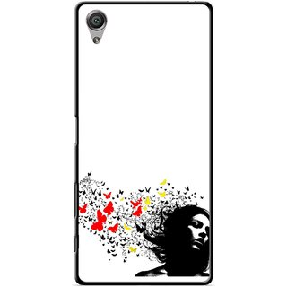 Snooky Printed Butterfly Girl Mobile Back Cover For Sony Xperia X - Multicolour