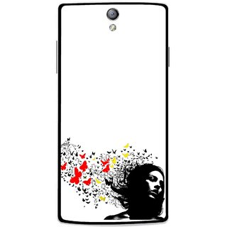 Snooky Printed Butterfly Girl Mobile Back Cover For Oppo Find 5 Mini - Multicolour