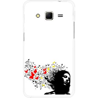 Snooky Printed Butterfly Girl Mobile Back Cover For Samsung Galaxy Core Prime - Multicolour