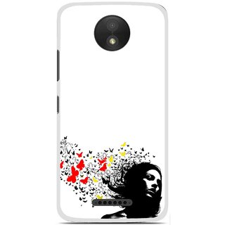 Snooky Printed Butterfly Girl Mobile Back Cover For Motorola Moto C Plus - Multicolour