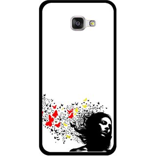 Snooky Printed Butterfly Girl Mobile Back Cover For Samsung Galaxy A3 (2016) - Multicolour
