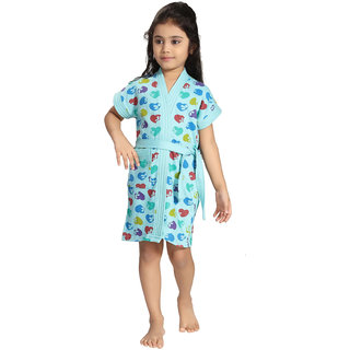 Be You Blue Hearts Print Kids Bath Robe for Girls [Size-XS (3-4 Yrs)]