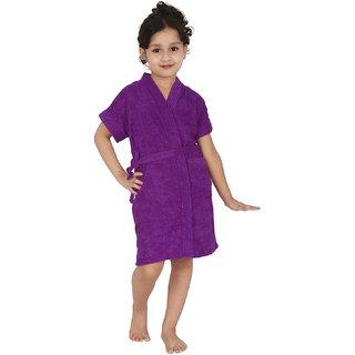 Be You Purple Solid Boys Bath Robe / Girls Bathrobe [Size-L (11-13 Yrs)]