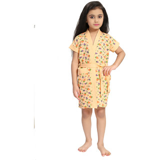 Be You Cream Strawberry Print Kids Bath Robe for Girls [Size-XS (3-4 Yrs)]