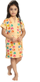Be You Peach Hearts Print Girls Bath Robe Size-S (5-7 Yrs)