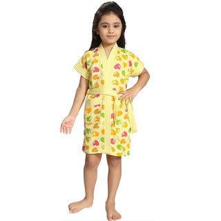 Be You Yellow Hearts Print Girls Bath Robe [Size-XS (3-4 Yrs)]