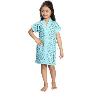 Be You Blue Strawberry Print Girls Bath Robe [Size-XXS (0-2 Yrs)]