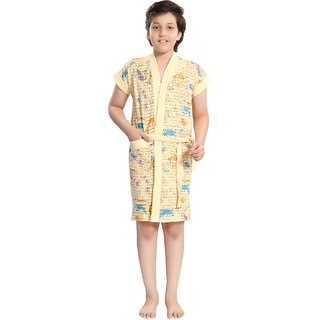 Be You Beige Letter Print Boys Bath Robe [Size-S (5-7 Yrs)]