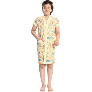 Be You Beige Letter Print Boys Bath Robe [Size-M (8-10 Yrs)]