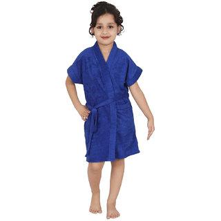 Be You Blue Solid Boys Bathrobe [Size-M (8-10 Yrs)]