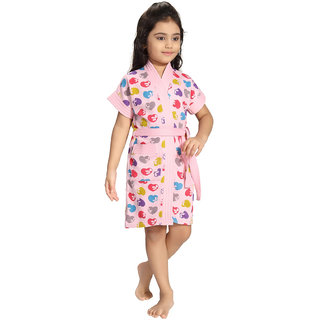 Be You Pink Hearts Print Kids Bath Robe for Girls [Size-XS (3-4 Yrs)]