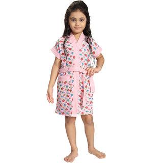 Be You Pink Strawberry Print Kids Bath Robe for Girls [Size-XS (3-4 Yrs)]