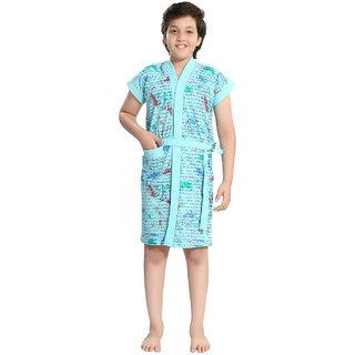 Be You Blue Letter Print Kids Bath Robe for Boys [Size-XXS (0-2 Yrs)]