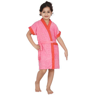Buy Be You Peach Two Tone Kids Bath Robe For Boys Girls Size Xxs 0